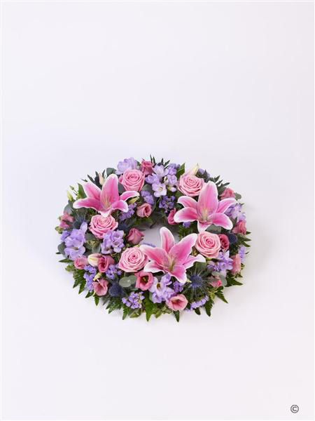 Rose and Lily Pink & Lilac Wreath
